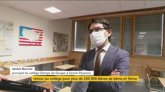 """Nouvelles - 150 000 collégiens reprennent les cours dans les départements en """"zone verte"""""""